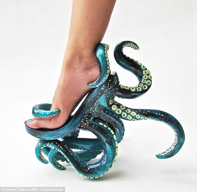 Filopino shoe designer Kermit Tesoro has released extravagant new footwear the Polypodis (pictured)