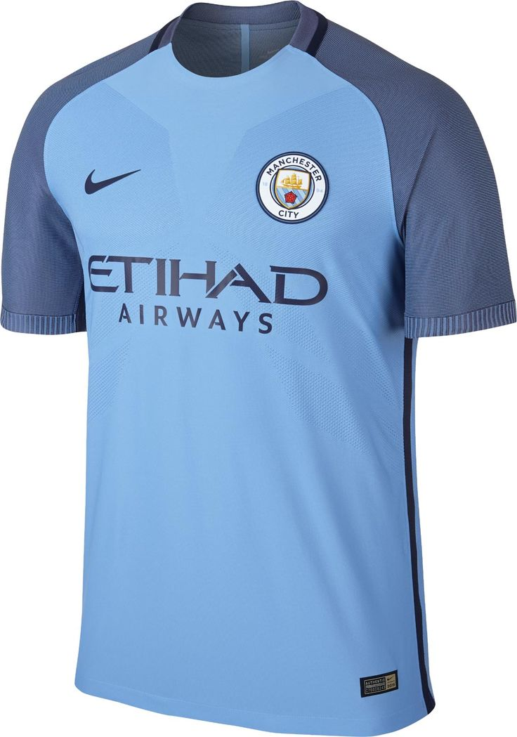 Manchester City's 16-17 home kit boasts the new club logo in a modern design, based on the Nike AeroSwift template.