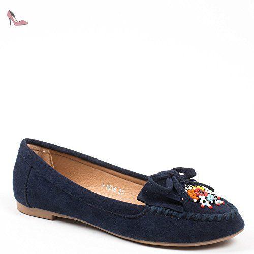Ideal Shoes - Mocassins effet daim décorés de perles fantaisies Tizia Marine 39 - Chaussures idal shoes (*Partner-Link)