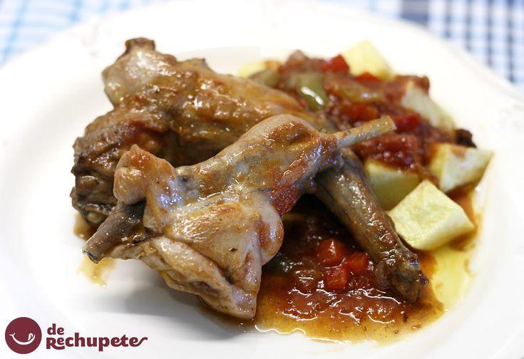 Una receta con una de las carnes más sanas, conejo con tomate. Receta sencilla y ecónomica http://www.recetasderechupete.com/conejo-con-tomate/10952/ #receta #derechupete