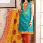Natasha Couture Blue and Orange Printed Cotton Salwar Kameez