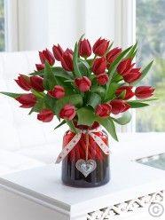 Valentine's Red Tulip Vase