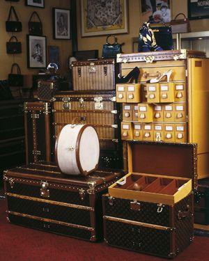 Antique steamer trunks for Grand Tour travelers, c. 1860-1910