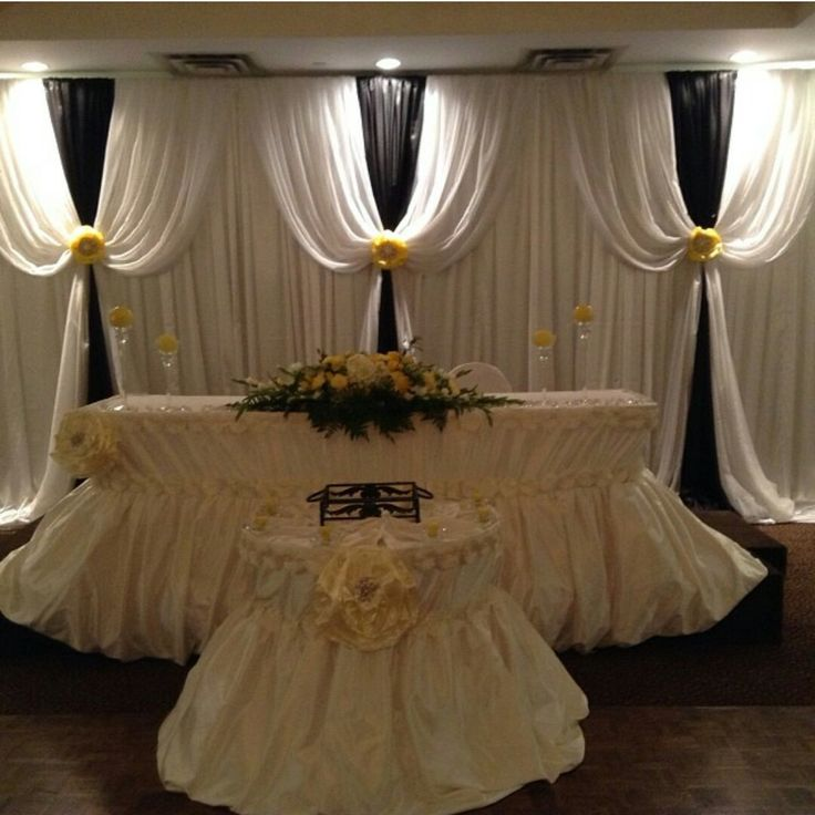 Black and yellow wedding backdrop,bride and groom head table and cake table . Ongoing setting by Yvana's Decor