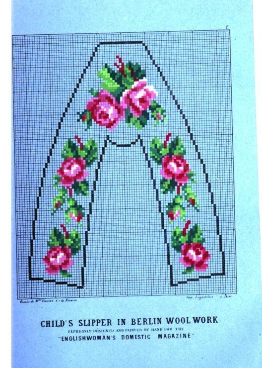 Child's slipper pattern for needlepoint