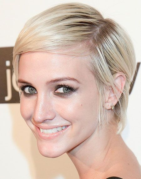 One of the best modern pixies in our book! Ashlee Simpson's modern pixie is cut tightly at the sides while the front is longer and sheared asymmetrically.