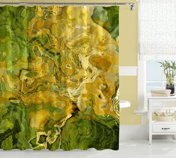 Abstract art shower curtain, green, and golden yellow shower curtain, contemporary shower curtain, Shine