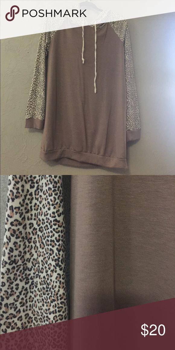 Mon Ami Hoody with cheetah print sleeves Animal print hoody 12 Pm By Mon Ami Tops Sweatshirts & Hoodies