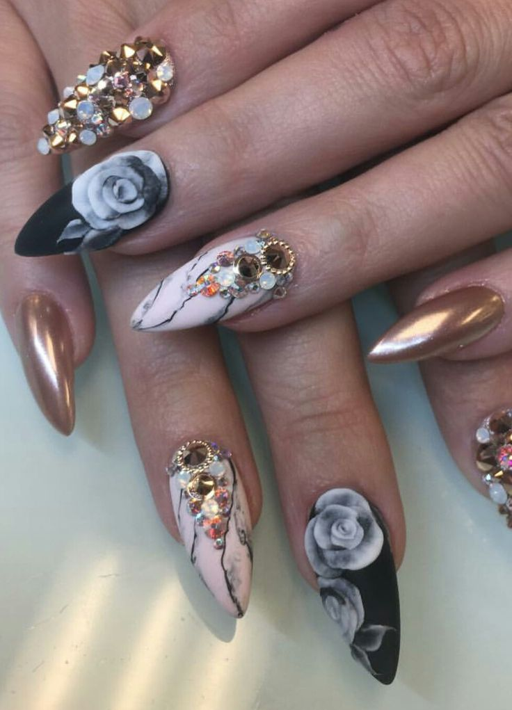 1742 best nails images on pinterest nail art nail designs and black copper floral stone nails design nailart malishka702nails prinsesfo Choice Image
