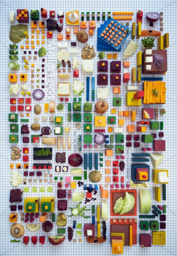 Stockholm-based art director Petter Johansson partnered with Swedish food lab Atelier Food to create a tasty still life made of—you guessed it—food. Laid out on a grid in a colorful array of delicious towers of yumminess, the foodscapes almost look like three-dimensional city maps.