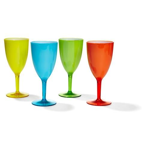 Coloured Plastic Wine Glasses - Set Of 4 | Kmart
