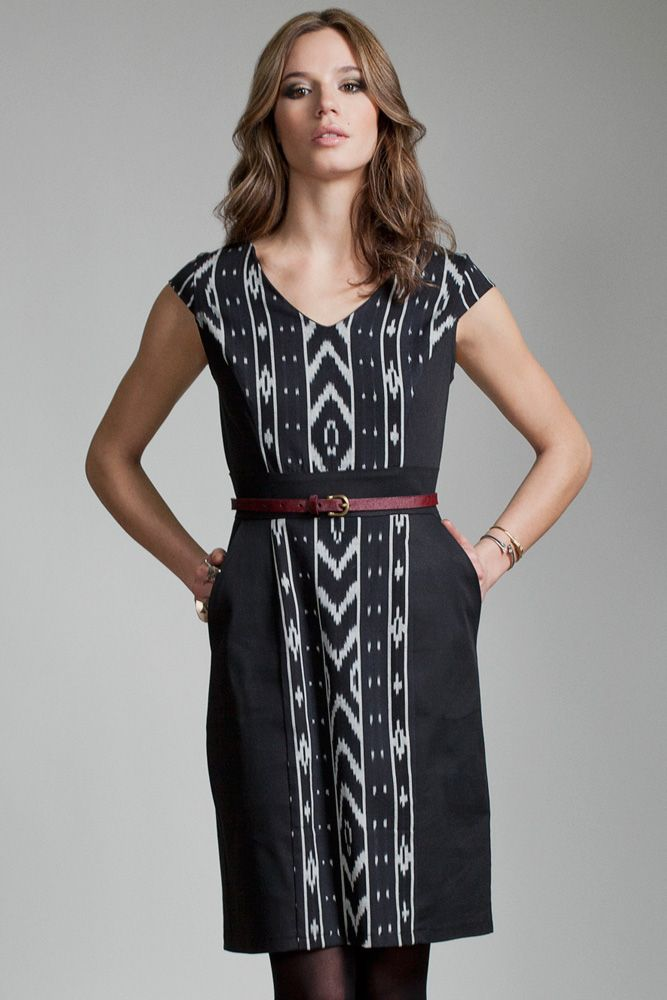 Twilight Dress by Jennifer Glasgow.  Cap sleeve dress with contrast front and shoulder panel.