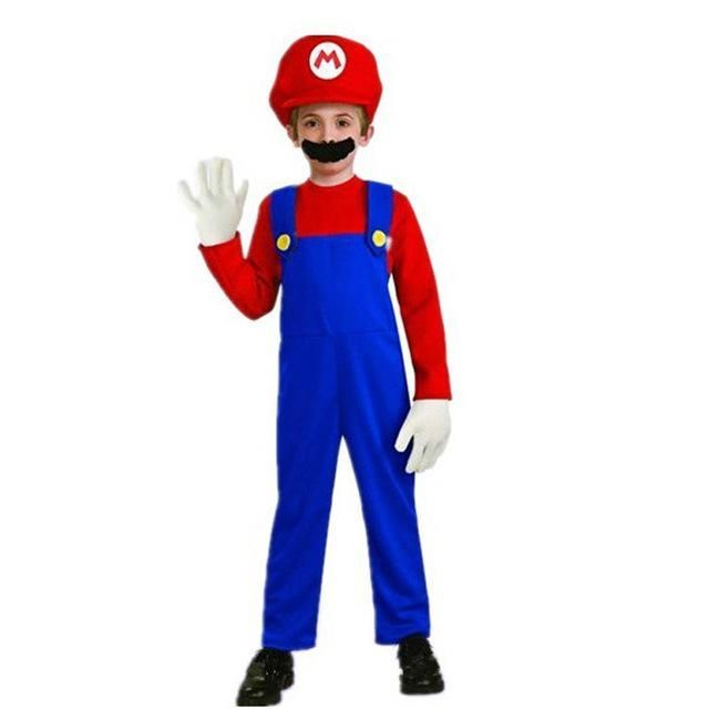 Kids Boys Super Mario Luigi Brother Jumpsuit Cosplay Costume Suit Carnival Party
