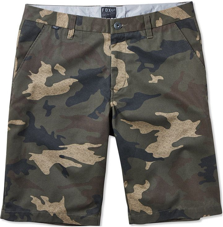 $49, Olive Camouflage Shorts: Fox Essex Camo Shorts. Sold by Macy's. Click for more info: https://lookastic.com/men/shop_items/206102/redirect