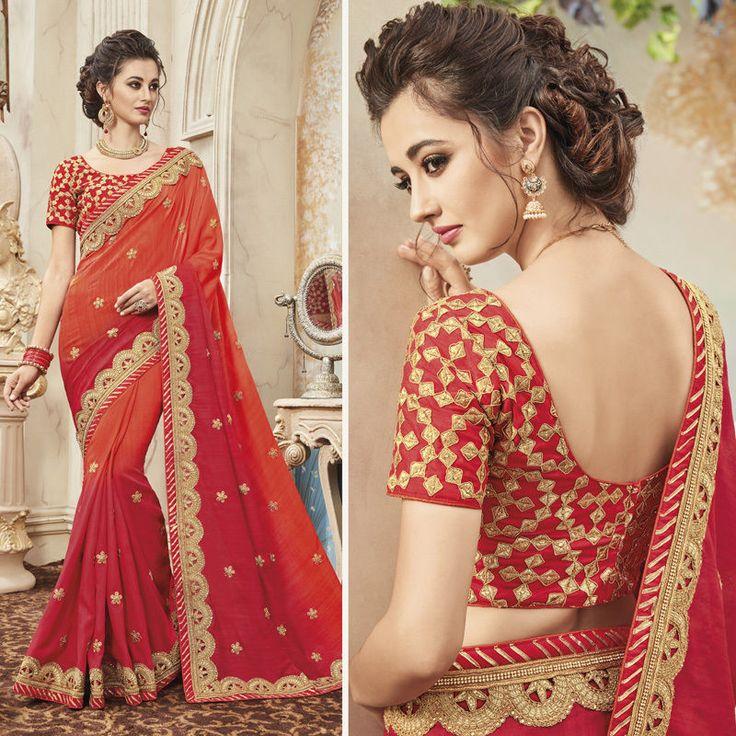 New Indian Designer Wedding Bridal Festival Wear Punjabi Saree Sari Freeshipping #Handmade #Saree