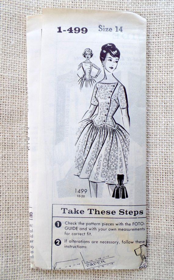 Vintage des années 1950 Mail commander 1-499 Patt-O-Rama 1499 modèle halte taille robe années 1950 Rockabilly Pinup buste 34 juin Cleaver