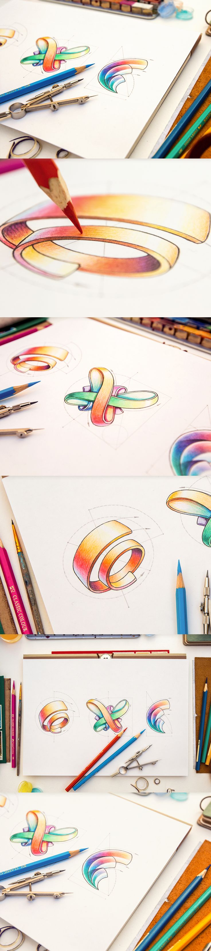 Love the shading and coloring on these logos. My favorite is the one on the left, the ribbon one. The shading is awesome on these and they would look great on a business card