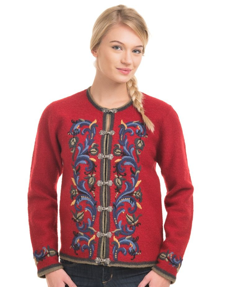 VRIKKE Cardigan in red - $249 from Norway Shop (I love all 3 colors--makes it impossible to choose!)