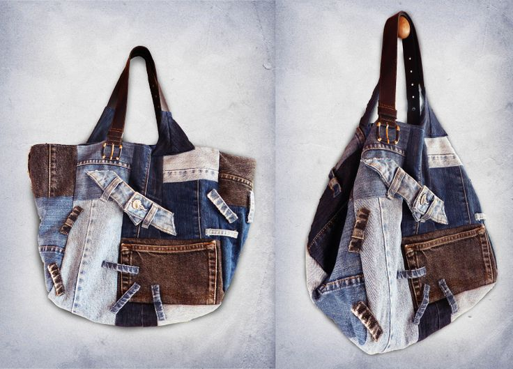 Large jeans patchwork shoulder bag recycled denim by JeansNStuff