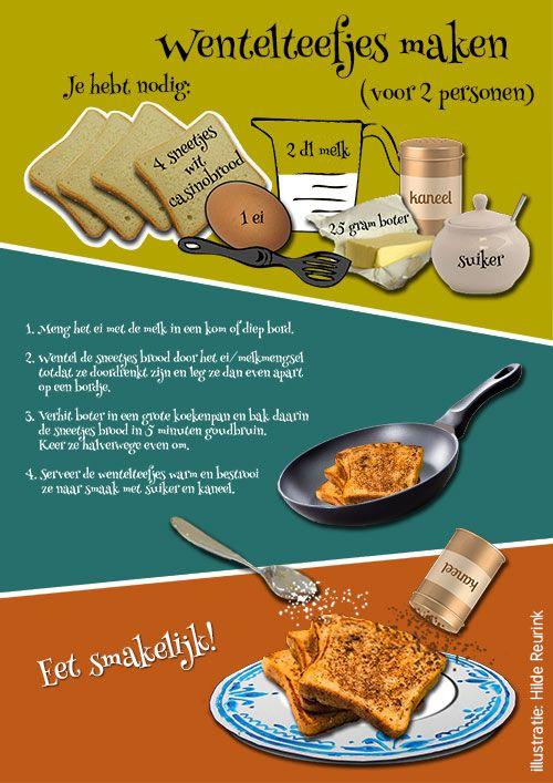 geillustreerd recept voor maken wentelteefjes, illustratie Hilde Reurink