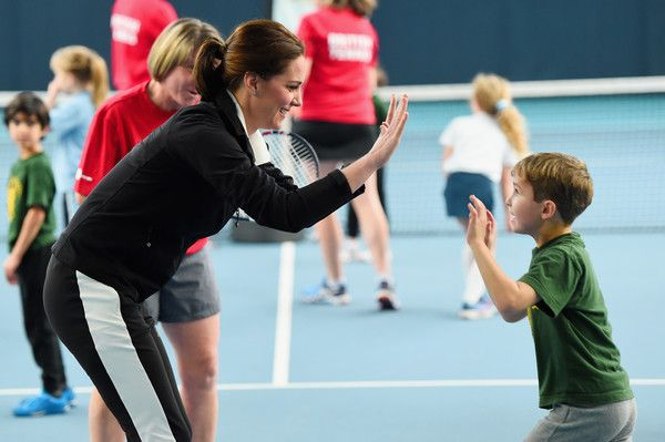 Kate Middleton Photos - Catherine, Duchess of Cambridge plays tennis with children as she visits the Lawn Tennis Association at National Tennis Centre on October 31, 2017 in London, England.  The Duchess of Cambridge became Patron of the LTA in December 2016. - The Duchess Of Cambridge Visits The Lawn Tennis Association
