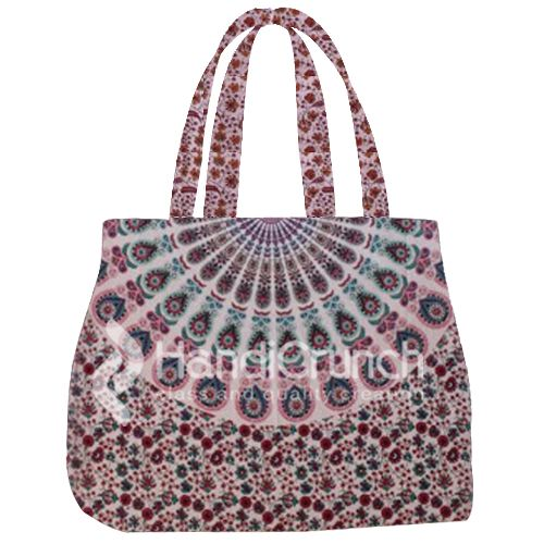 Red&White mandala handbag to complete your style @Handicrunch