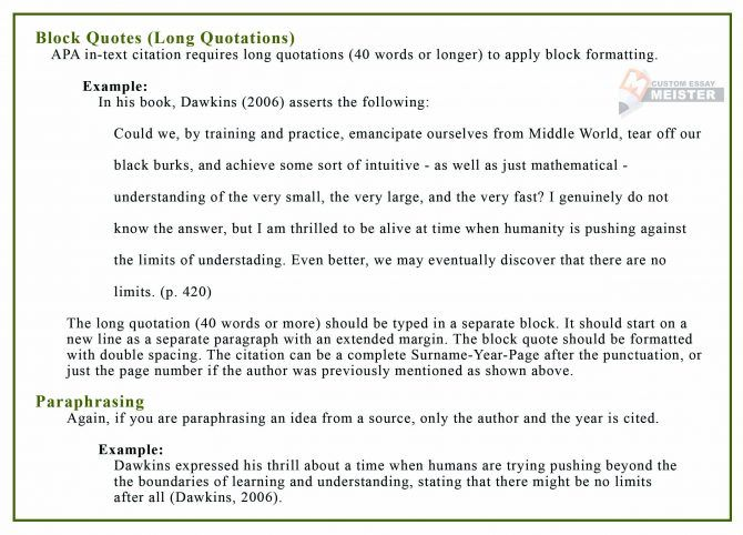 Apa 6th Edition Paraphrasing Example Quoting Website Purdue Be An Quote Block Text Quotes How To Paraphrase And Cite