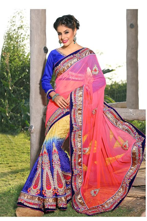 Brasso, Net Blue, Peach Designer party wear saree