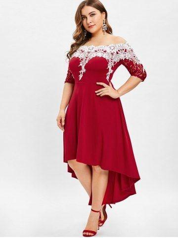 19b74869d42 Lace Panel Plus Size High Low Dress