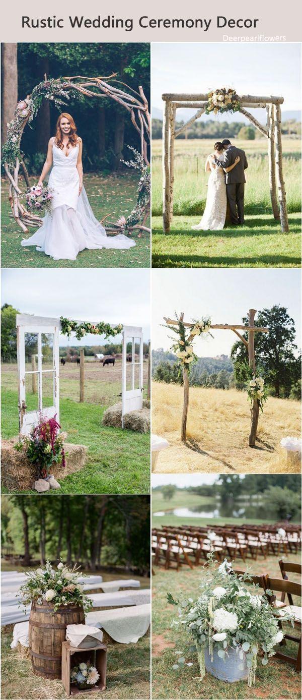 Rustic wedding ceremony decor / http://www.deerpearlflowers.com/rustic-wedding-details-and-ideas/3/