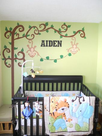 Boy Jungle Nursery, Jungle themed boy nursery we did on a budget. Small room but made it work with hand painted mural over his crib., Nurser...