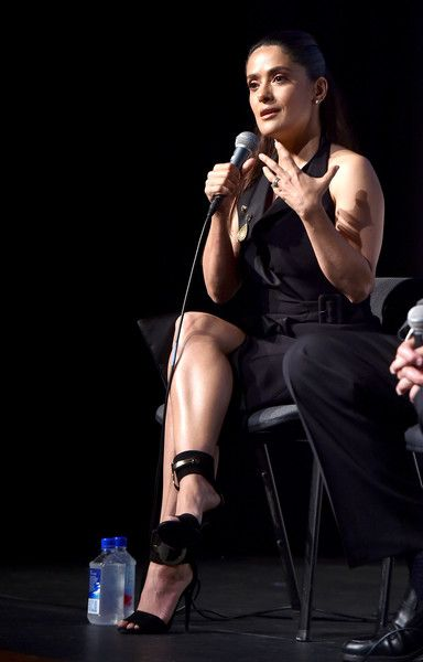 """Salma Hayek Photos - Actress/producer Salma Hayek speaks onstage at a Q&A for the screening of GKID's """"Kahlil Gibran's The Prophet"""" at the Los Angeles County Museum of Art on July 29, 2015 in Los Angeles, California. - Screening of GKIDS' 'Kahlil Gibran's The Prophet' - After Party"""