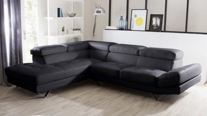 Grand canap d 39 angle cuir noir id es pour la maison for Grand canape d angle 7 places