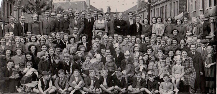 Wolsey Avenue, East Ham, London. Street Party for the 1953 Coronation.