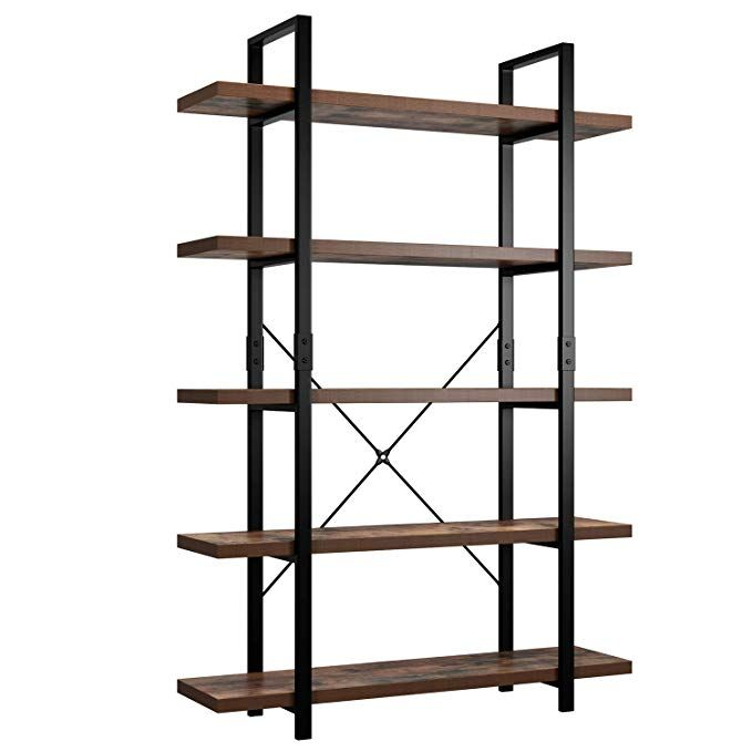 Amazon Com Homfa Bookshelf 5 Tier Industrial Bookcase Open Storage Display Shelves Organizer Accent Furniture In 2020 Metal Bookcase Industrial Bookcases Bookcase