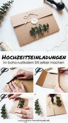 DIY Hochzeitseinladungen aus Kraftpapier und Eukalyptus selber machen, perfekte Hochzeitspapeterie für eine Boho-Hochzeit oder einer Hochzeit im rustiakalem Stil. DIY Anleitung und Tipps findest du auf Yeah Handmade.