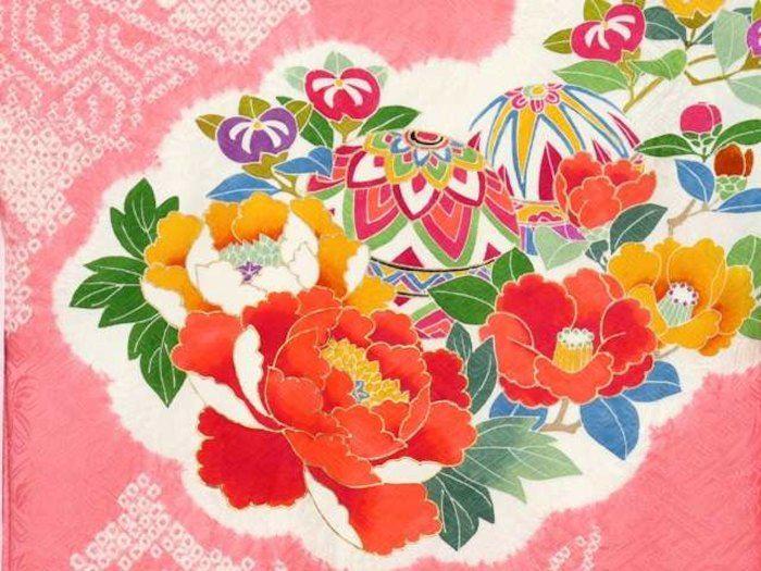 女児用 ベビー きもの kimono お宮参り 初着 産着 販売 通販。お宮参り 着物 女の子用 赤ちゃんのお祝い着 正絹の着物「桃、鞠と牡丹」IGU703