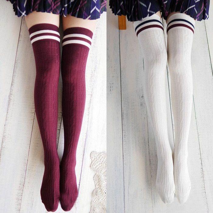 College Wind Thigh High Socks