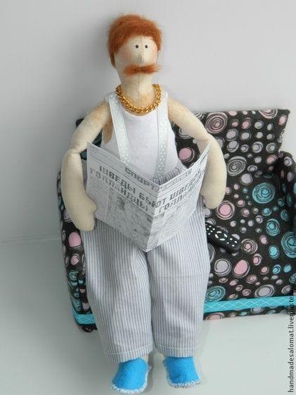 Домосед - синий,мужчина,тильда,кукла Тильда,кукла ручной работы,кукла в подарок