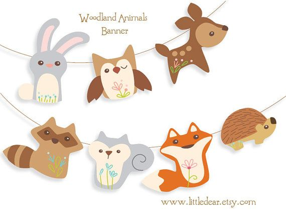 Printable Woodland Animals Banner PDF new at little dear!