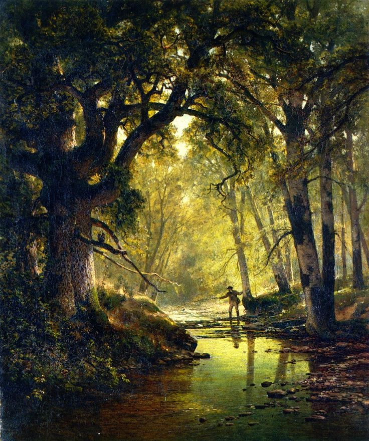 "spoutziki-art: "" Thomas Hill, Angler In A Forest Interior, 1874 """