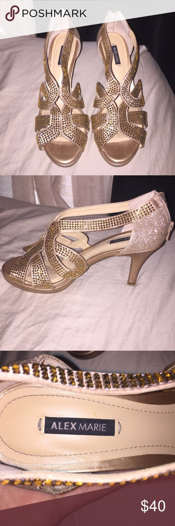 Alex Marie gold sandal heels. Worn once for a wedding. Small scratches on heel, but hardly noticeable. Alex Marie Shoes Heels