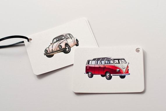 Our Retro Car Gift Tags are professionally laser printed onto cardstock with a handcut finish. Tags are printed on acid-free and chlorine free paper that is 100% recycled and contains 30% post consumer waste. | Green Bride Guide