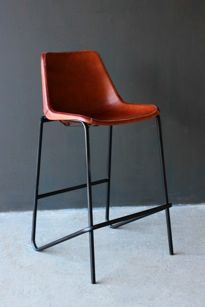 Comes from the UK   $160   Industrial Leather Bar Stool - Brown