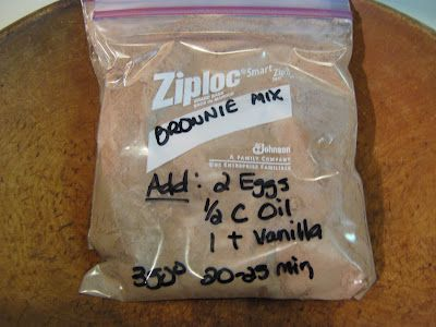 Never buy boxed brownie mix again! So simple, so easy. Not just frugal but cuts out the unknown ingredients. Brownie Mix $0.30 /mix. 1 Cup Sugar, 1/2 Cup Flour, 1/3 Cup Cocoa, 1/4 tsp Salt, 1/4 tsp Baking Powder. Add: 2 Eggs, 1/2 Cup Vegetable Oil, 1 teaspoon Vanilla. Bake @ 350 degrees for 20-25 minutes.