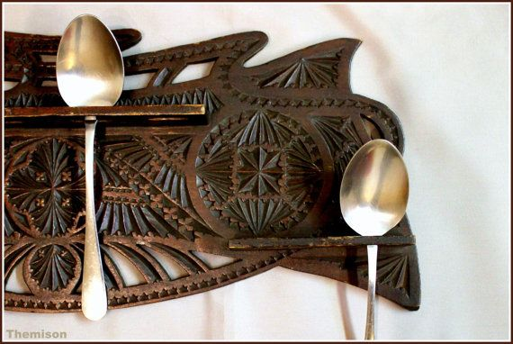 1900's two piece chip carved Frisian spoon rack. by Themison