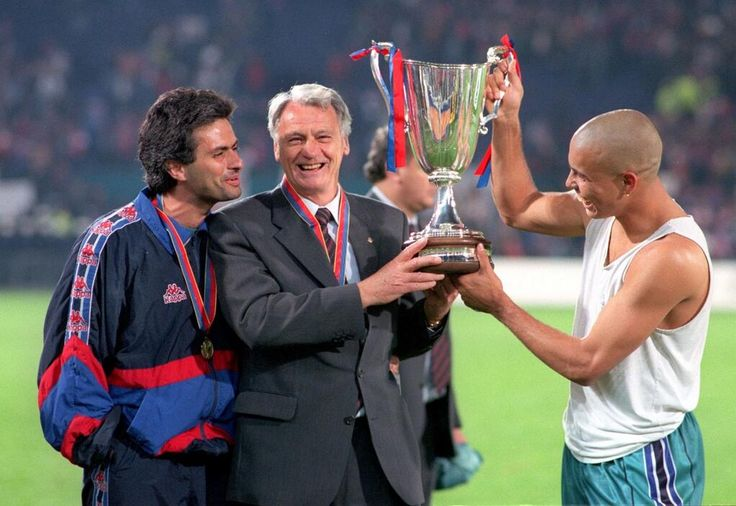 1997 - Jose Mourinho, Sir Bobby Robson and Ronaldo celebrate Barcelona's European Cup Winners' Cup triumph.