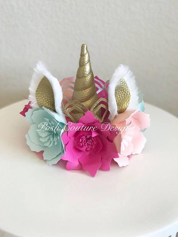 Corona unicornio / Unicorn corona Floral vestido Unicorn
