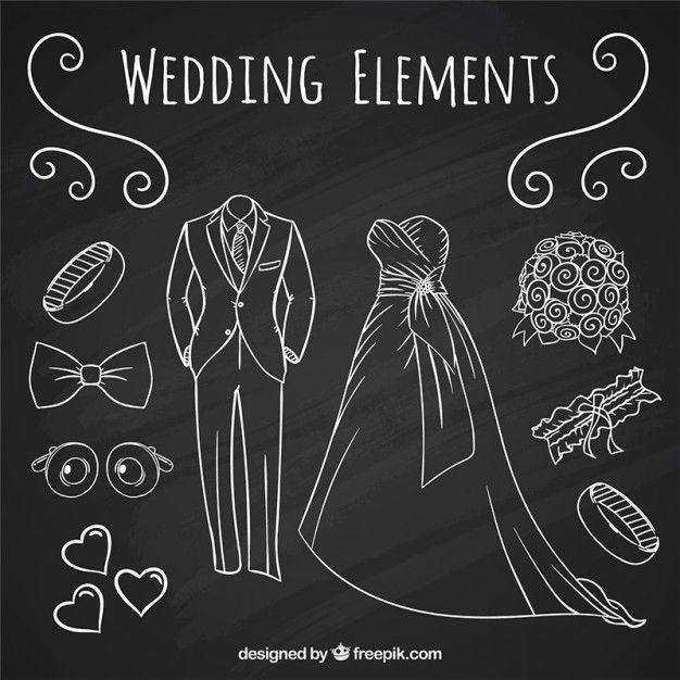 結婚式のスーツとBRIDドレスが設定された手描きのアクセサリー 無料ベクター
