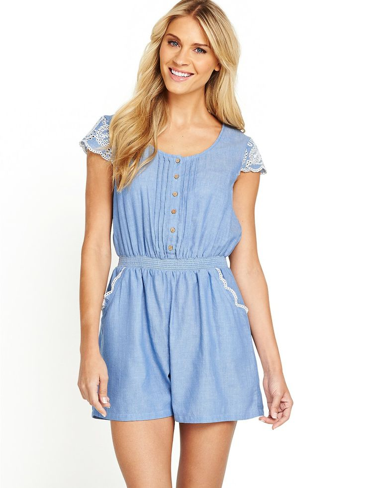 South Chambray Pintuck Playsuit   littlewoods.com